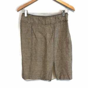 WHBM Brown Linen Blend Pencil Skirt Hempstitch